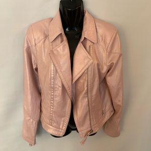 Guess Jacket Moto Light Pink Metallic Sz S